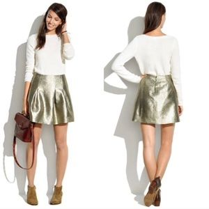 NEW Madewell gold shimmer mini skirt